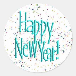 Pegatina Redonda Felices Año Nuevo de turquesa del texto