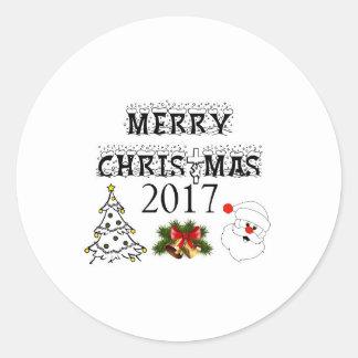 Pegatina Redonda Felices Navidad 2017 pegatinas para sus mejores