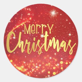 Pegatina Redonda Felices Navidad, Bokeh rojo, oro y luces blancas