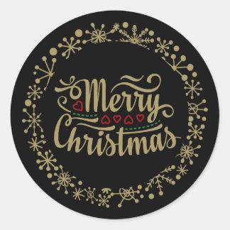 Pegatina Redonda Felices Navidad copo de nieve y pegatinas de los