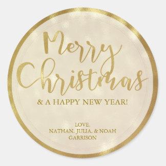 Pegatina Redonda Felices Navidad de encargo de Bokeh del oro