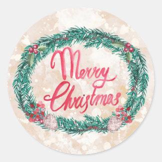 Pegatina Redonda Felices Navidad de la guirnalda del pino de la