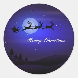 Pegatina Redonda Felices Navidad de la luna del trineo de Santa