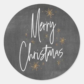 Pegatina Redonda Felices Navidad de la pizarra y del falso