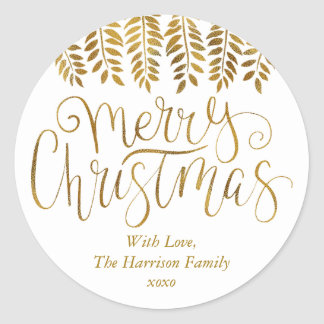 Pegatina Redonda Felices Navidad de la tipografía del efecto de la