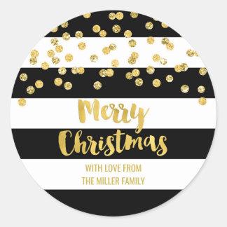 Pegatina Redonda Felices Navidad del confeti del oro de las rayas