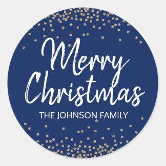 Pegatina Redonda Felices Navidad del confeti del purpurina del oro