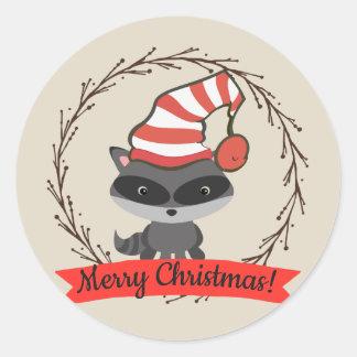 Pegatina Redonda Felices Navidad del mapache del arbolado