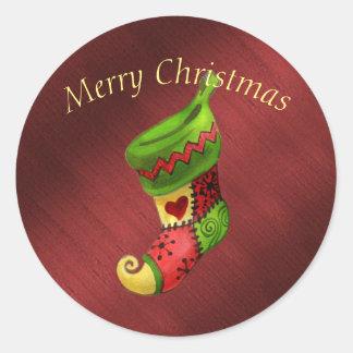 Pegatina Redonda Felices Navidad elegantes que almacenan al