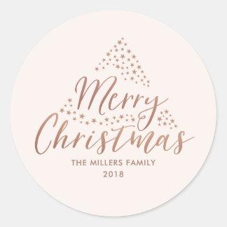 Pegatina Redonda Felices Navidad modernas