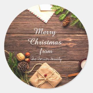 Pegatina Redonda Felices Navidad Pinecones y pegatinas de los