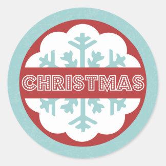 Pegatina Redonda Felices pequeños Navidad azules modernos redondos