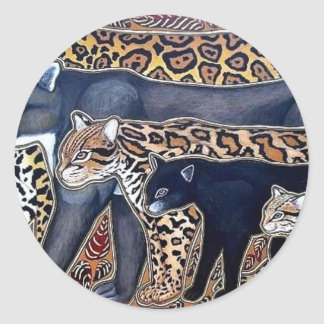 Pegatina Redonda Felinos de Costa Rica - Big cats