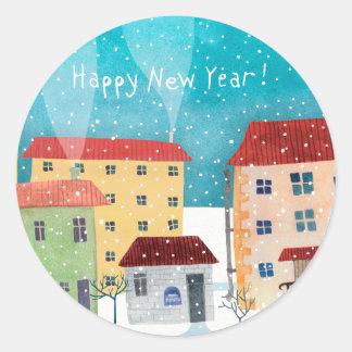 Pegatina Redonda ¡Feliz Año Nuevo!