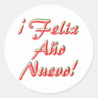 Pegatina Redonda Feliz Año Nuevo