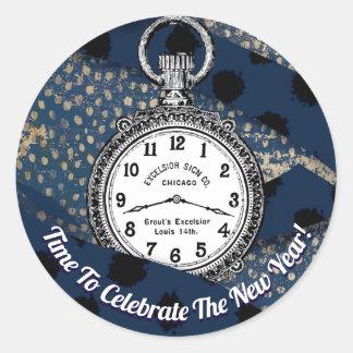 Pegatina Redonda Feliz Año Nuevo elegante moderna - fiesta de la