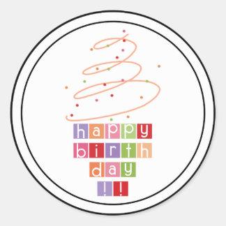 Pegatina Redonda Feliz cumpleaños