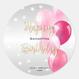 Pegatina Redonda Feliz cumpleaños estrellado elegante y globos