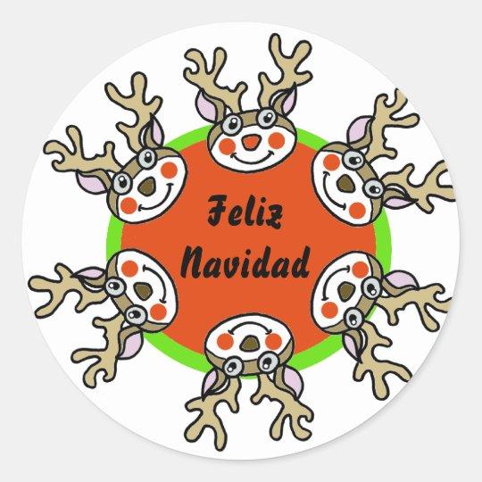Pegatina Redonda Feliz Navidad