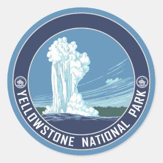 Pegatina Redonda Fiel viejo - parque nacional de Yellowstone