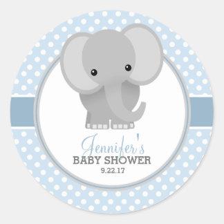 Pegatina Redonda Fiesta de bienvenida al bebé (azul) del elefante