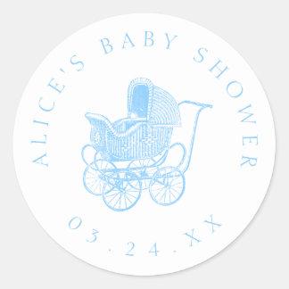 Pegatina Redonda Fiesta de bienvenida al bebé del carro de bebé