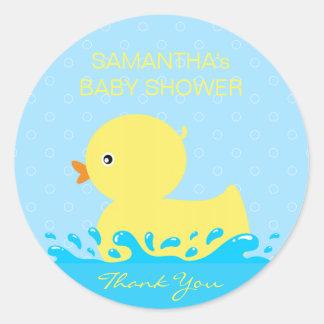 Pegatina Redonda Fiesta de bienvenida al bebé Ducky de goma azul
