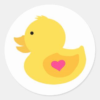 Pegatina Redonda Fiesta de bienvenida al bebé Ducky de goma del