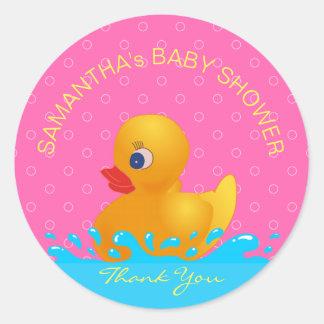 Pegatina Redonda Fiesta de bienvenida al bebé Ducky de goma rosada