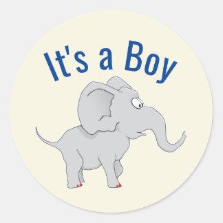 Pegatina Redonda Fiesta de bienvenida al bebé linda del elefante el