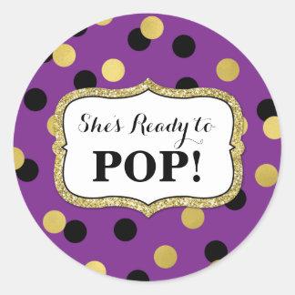 Pegatina Redonda Fiesta de bienvenida al bebé negra púrpura del oro