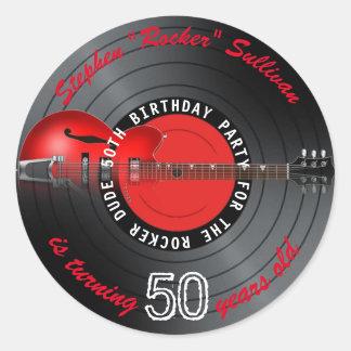 Pegatina Redonda Fiesta de cumpleaños del expediente de la guitarra