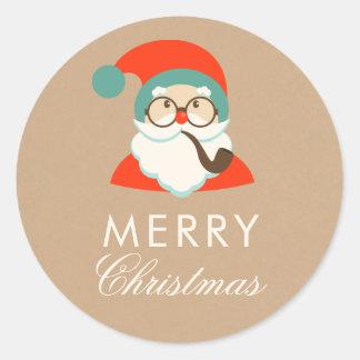 Pegatina Redonda Fiesta de Navidad de Santa del inconformista del
