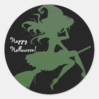 Pegatina Redonda Fiesta verde de Halloween del palo de escoba del