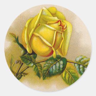 Pegatina Redonda Flor amarilla antigua color de rosa