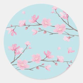 Pegatina Redonda Flor de cerezo - azul de cielo