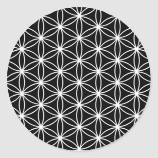 Pegatina Redonda Flor de la geometría sagrada de la vida