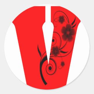 Pegatina Redonda Flor de la letra V