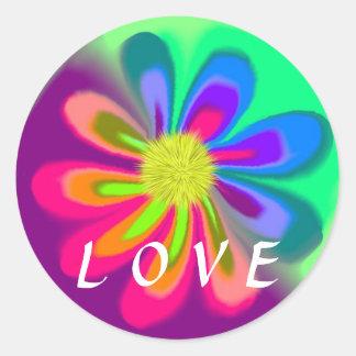 Pegatina Redonda Flor del amor