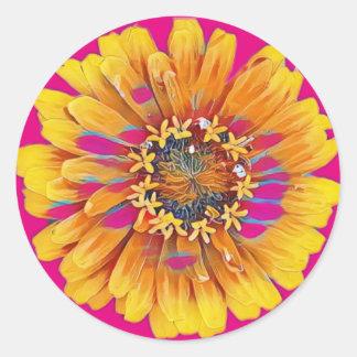 Pegatina Redonda Flor del verano en la plena floración