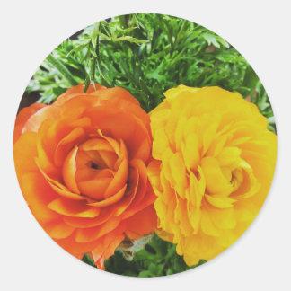 Pegatina Redonda Flor doble del problema