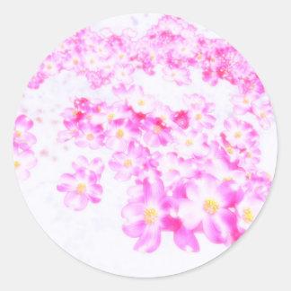 Pegatina Redonda Flor rosado del Dogwood