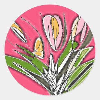 Pegatina Redonda Floraciones