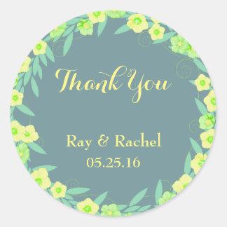 Pegatina Redonda Florales verdes y azules le agradecen