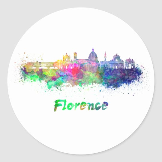 Pegatina Redonda Florence V2 skyline in watercolor