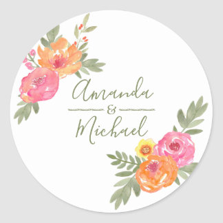 Pegatina Redonda Flores de la acuarela del boda de la primavera