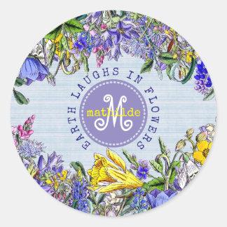 Pegatina Redonda Flores del Victorian del vintage de los