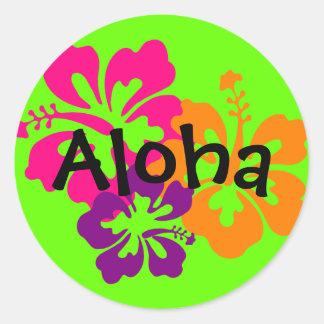 Pegatina Redonda Flores hawaianas intrépidas y brillantes