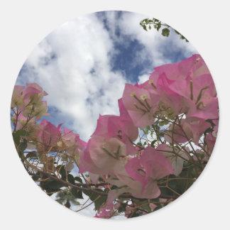 Pegatina Redonda flores rosadas contra un cielo azul