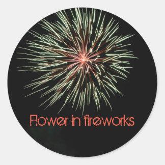 Pegatina Redonda Flower in fireworks